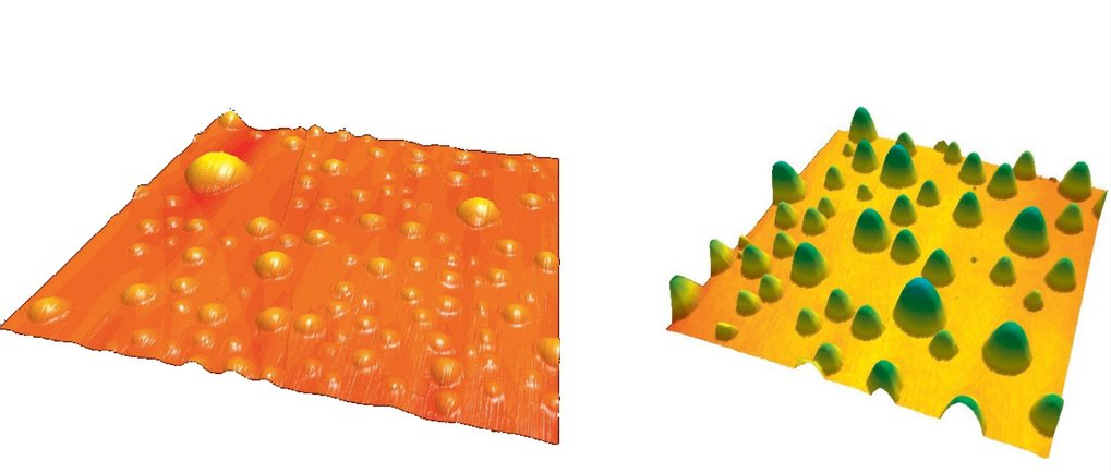 AFM image of nanobubbles produced by the solvent exchange method on HOPG. The imaged area is 4x4 µm2 (left). AFM image of nanodroplets produced by the solvent exchange method on hydrophobized silicon. The imaged area is 30x30 µm2,and the color code is from 0 to 800 nm. Taken from Lohse, Zhang, Rev. Mod. Phys. 87, 981 (2015) (right).