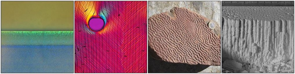 Structure formation in multi-phase materials, from our research. From left to right (i) colloidal crystals in drying paints; (ii) shear bands and birefringence in colloidal films; (iii) Kinneyia, a fossil wrinkling instability, and (iv) columnar joints in dried corn starch.