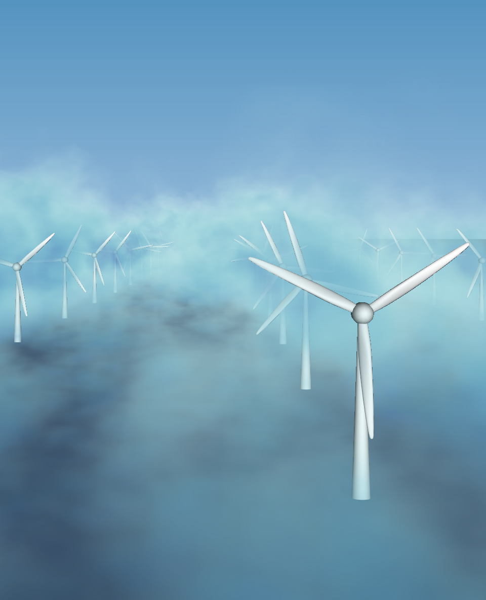 Atmospheric turbulence in a wind farm from large eddy simulations.