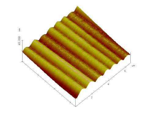 Fig. 7: Smectic-A film on a unidirectional planar anchoring substrate. A linear structure with smooth surface corrugations is formed.