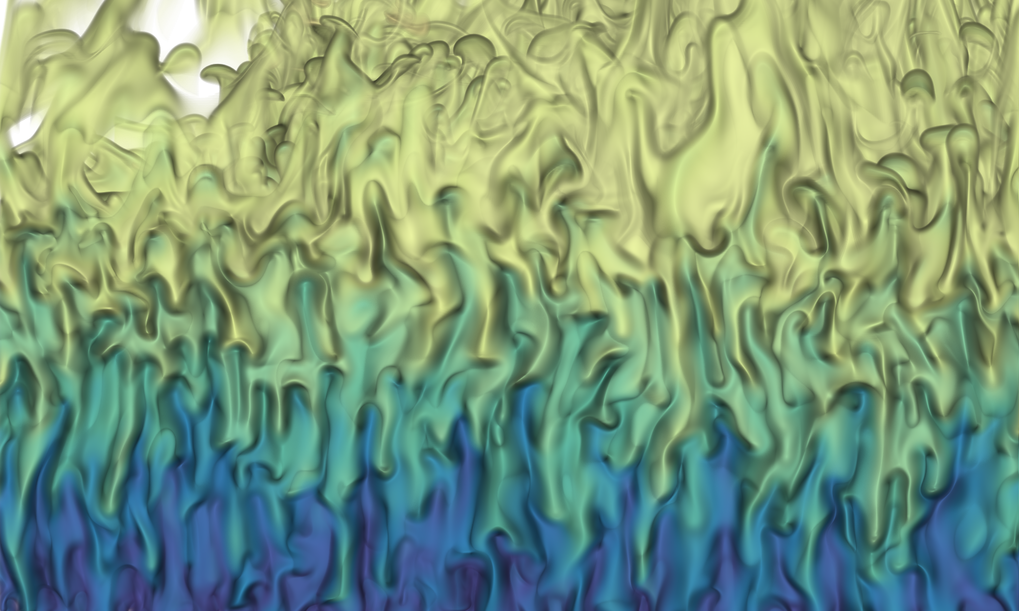 Detail of a high-resolution computer simulation of a highly turbulent salt solution. The fluid is driven not only by temperature gradients, but also by gradients in the salt concentration (double thermal diffusion).