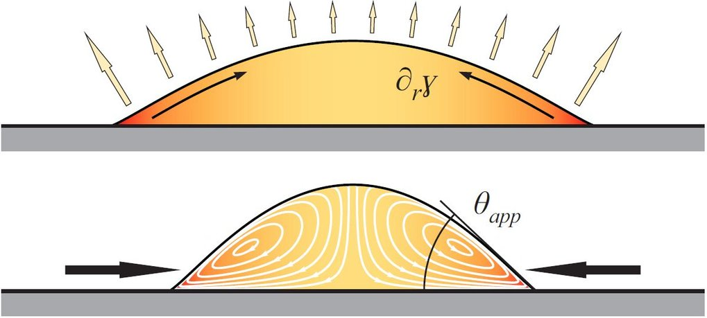 Evaporation induces Marangoni flows in a complex liquid and changes the apparent contact angle