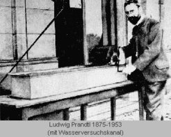 Ludwig Prandtl with his water channel